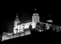 Fortress Marienberg in the town of Wurzburg Germany at night in the winter